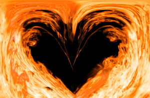 Heart made of fire, heart in flames, the fire in the shape of heart