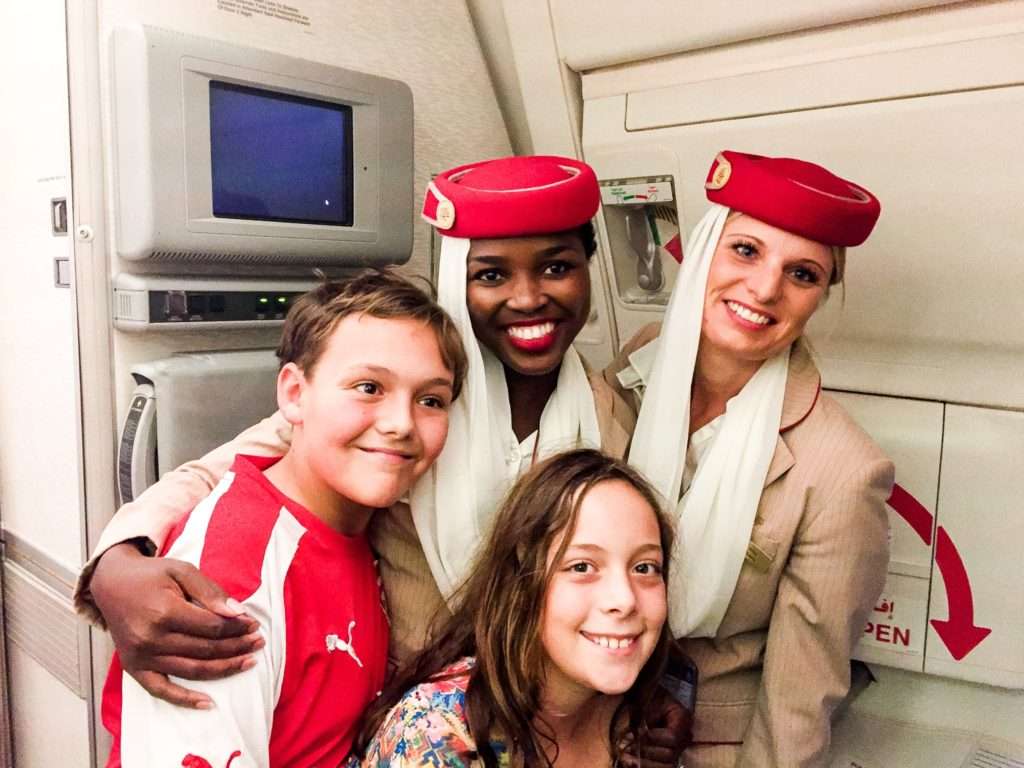 Emirates Flight Attendants & kid world travelers